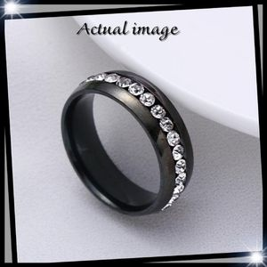 Men's Black Titanium w Channel White Sapphire Ring